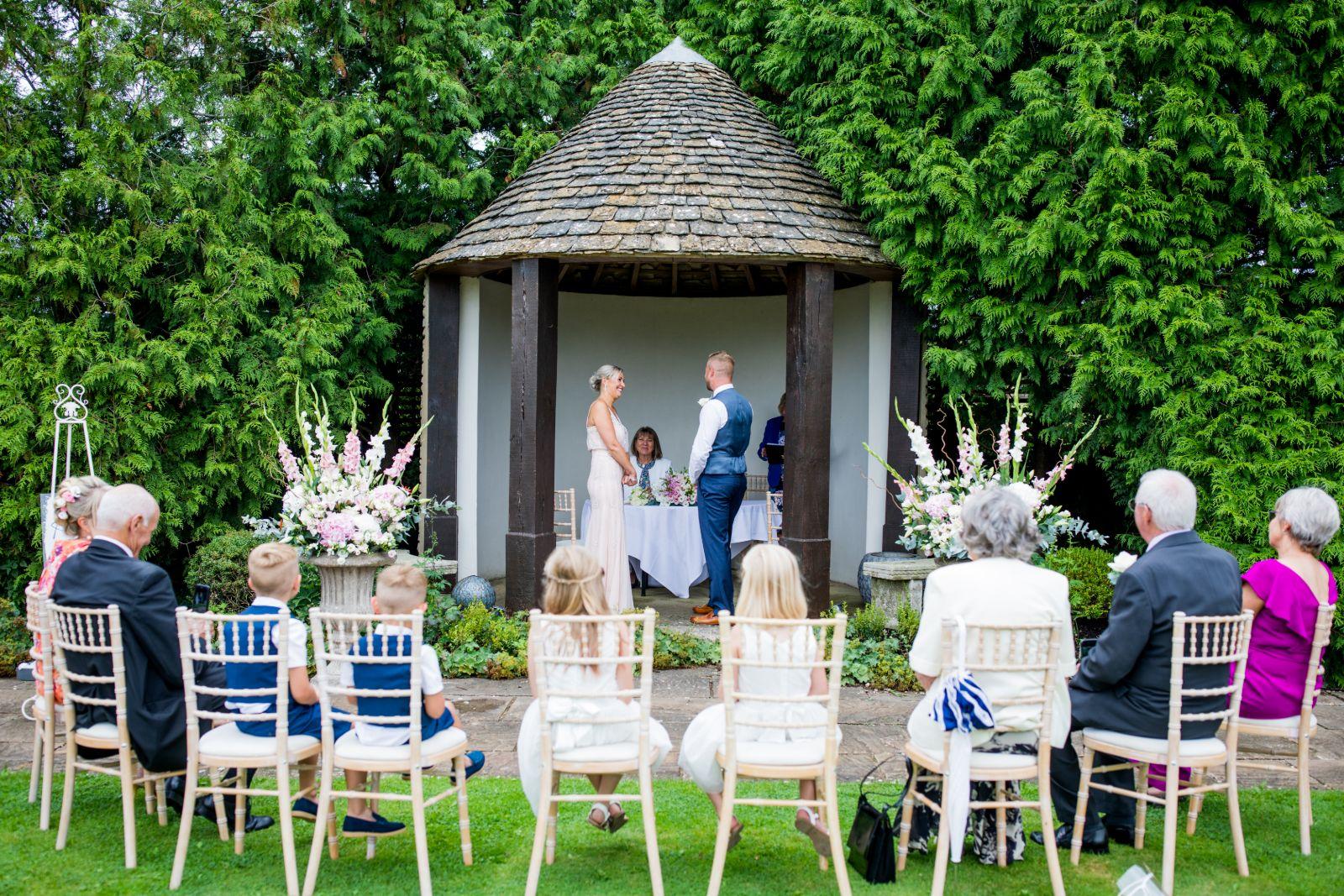 Bristol garden wedding ceremony Whatley Manor