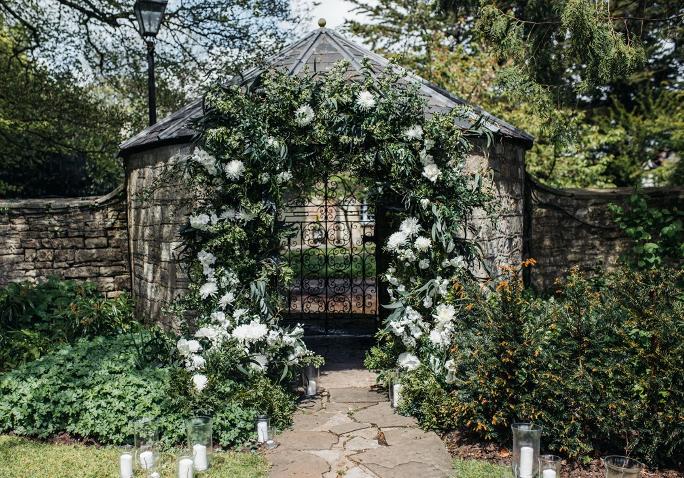 Floral display for a wedding by Tara the Celebrant at Parish House Bath