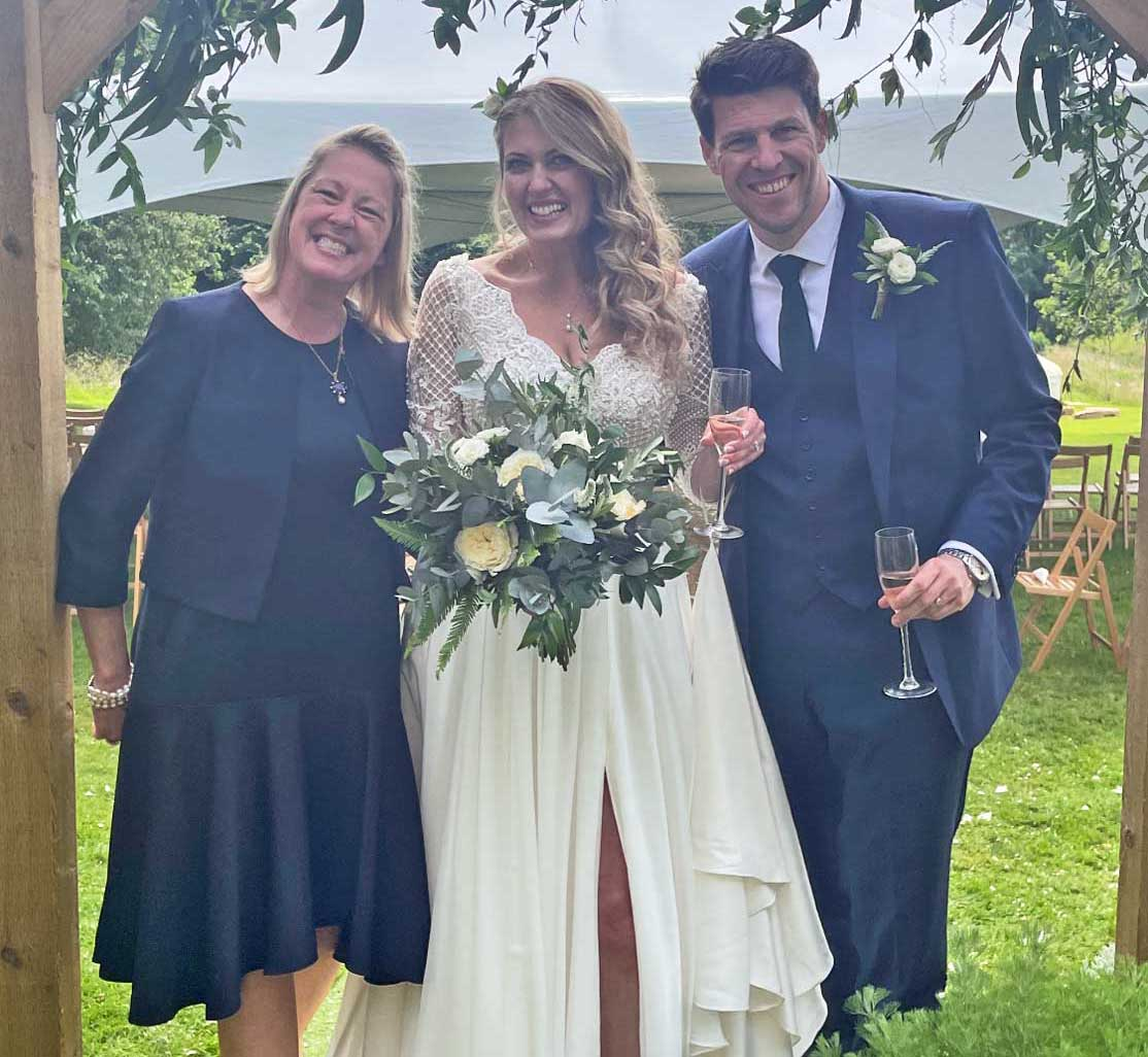 Bride & groom pictured with Tara the Celebrant after their wedding